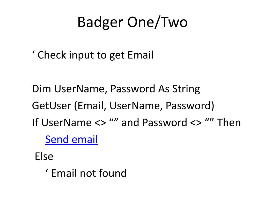 Badger One/Two