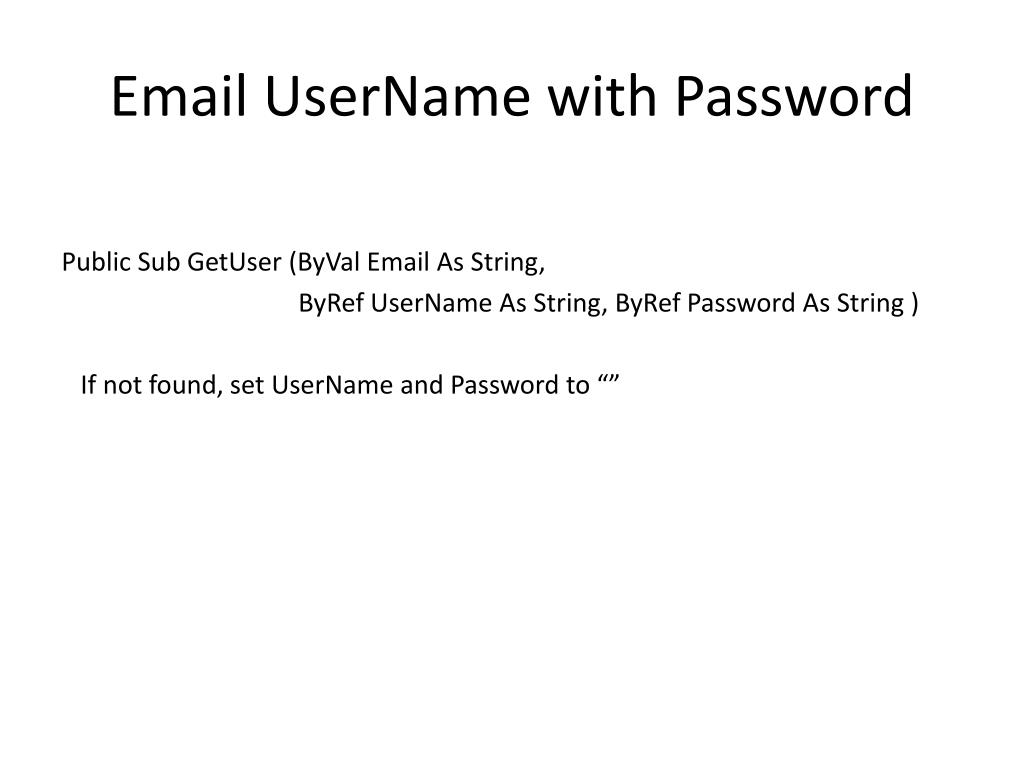 Email UserName with Password