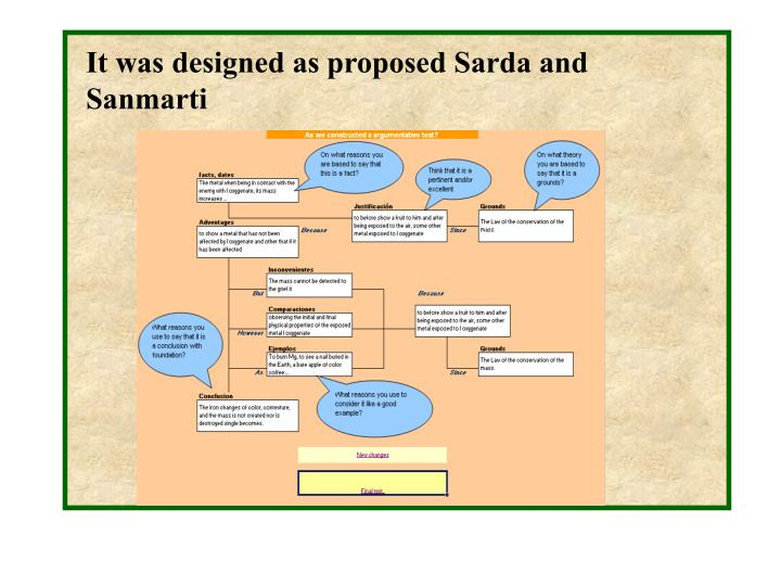 It was designed as proposed Sarda and Sanmarti
