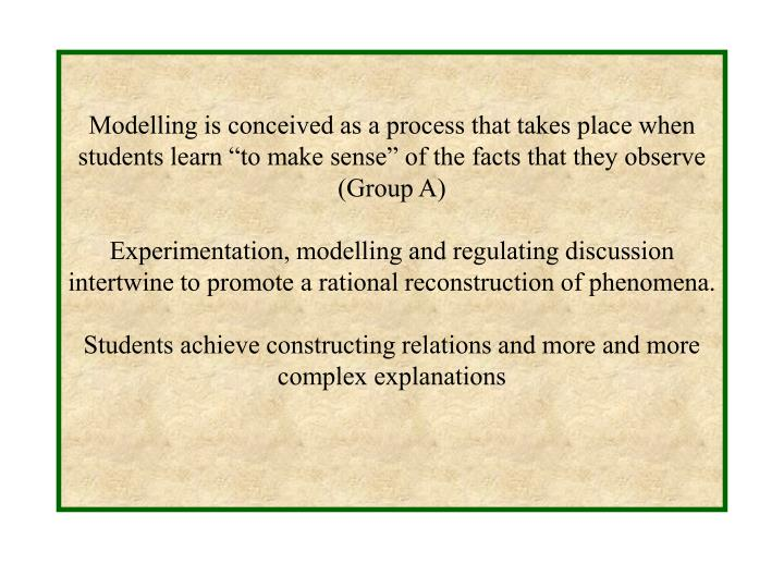 """Modelling is conceived as a process that takes place when students learn """"to make sense"""" of the facts that they observe (Group A)"""