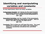 identifying and manipulating variables and constants