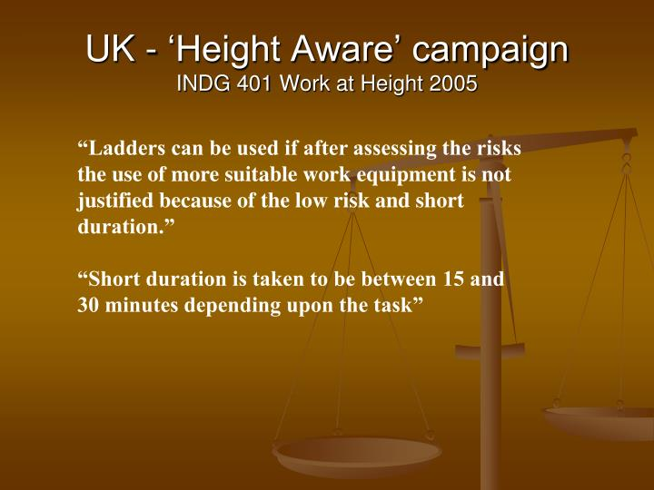 UK - 'Height Aware' campaign