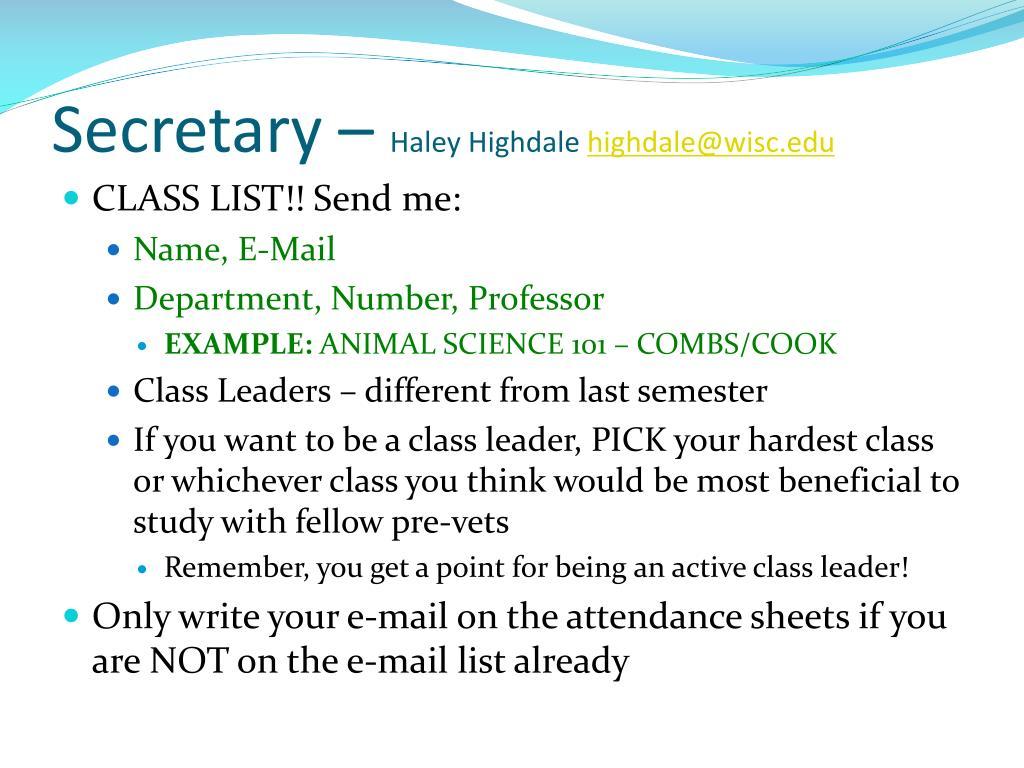 Secretary –