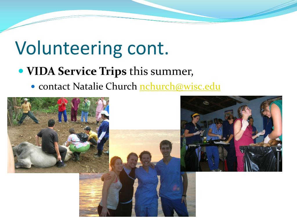 Volunteering cont.