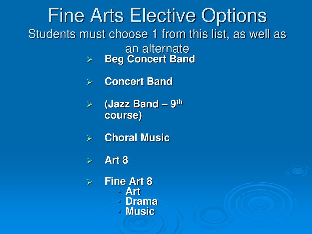 Fine Arts Elective Options