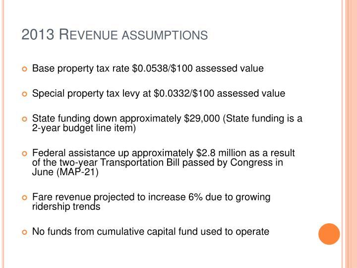 2013 Revenue assumptions