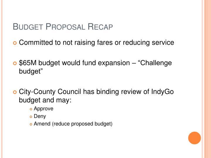 Budget Proposal Recap