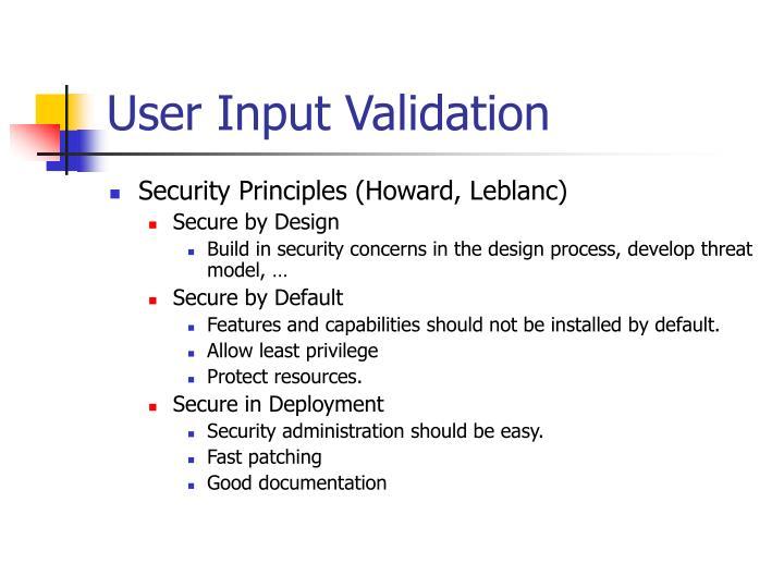 User Input Validation