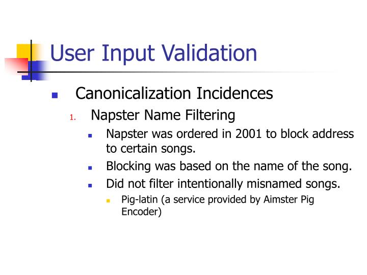 User Input Validation