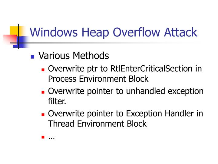 Windows Heap Overflow Attack