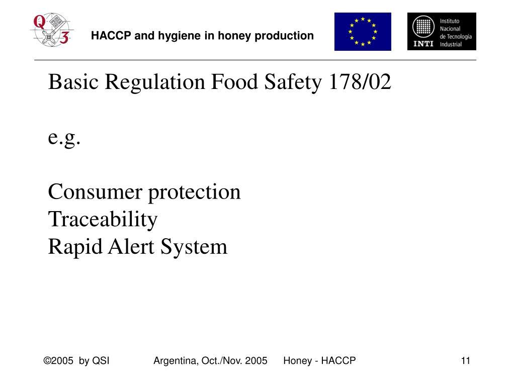 Basic Regulation Food Safety 178/02