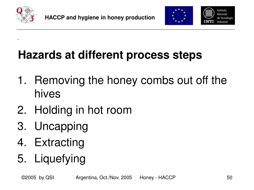 Hazards at different process steps