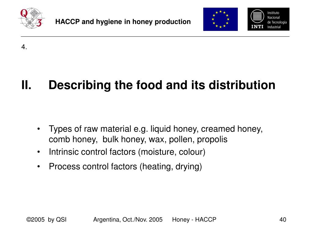 II.     Describing the food and its distribution