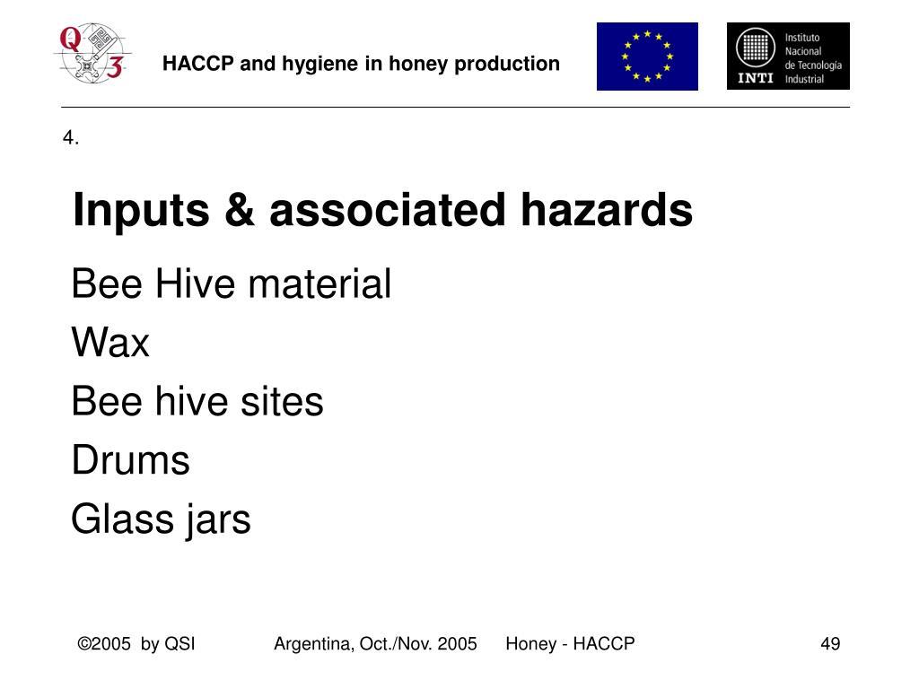 Inputs & associated hazards