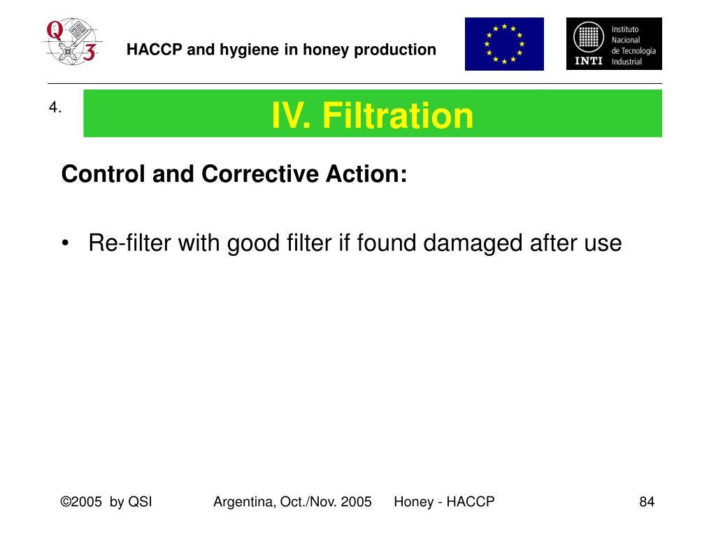 IV. Filtration