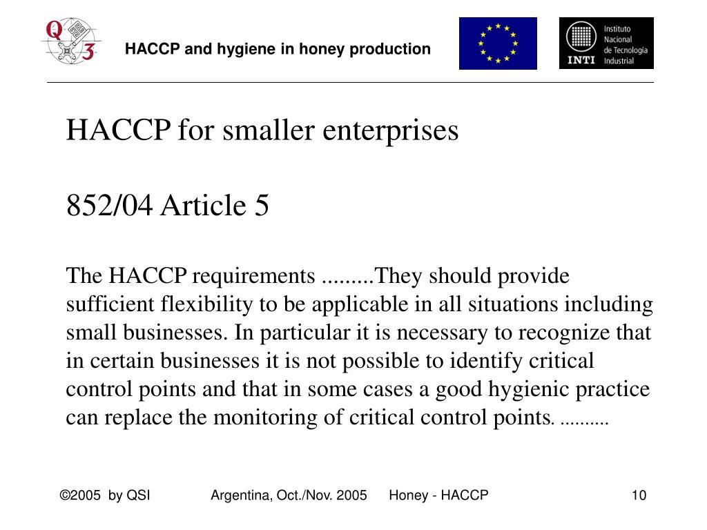 HACCP for smaller enterprises