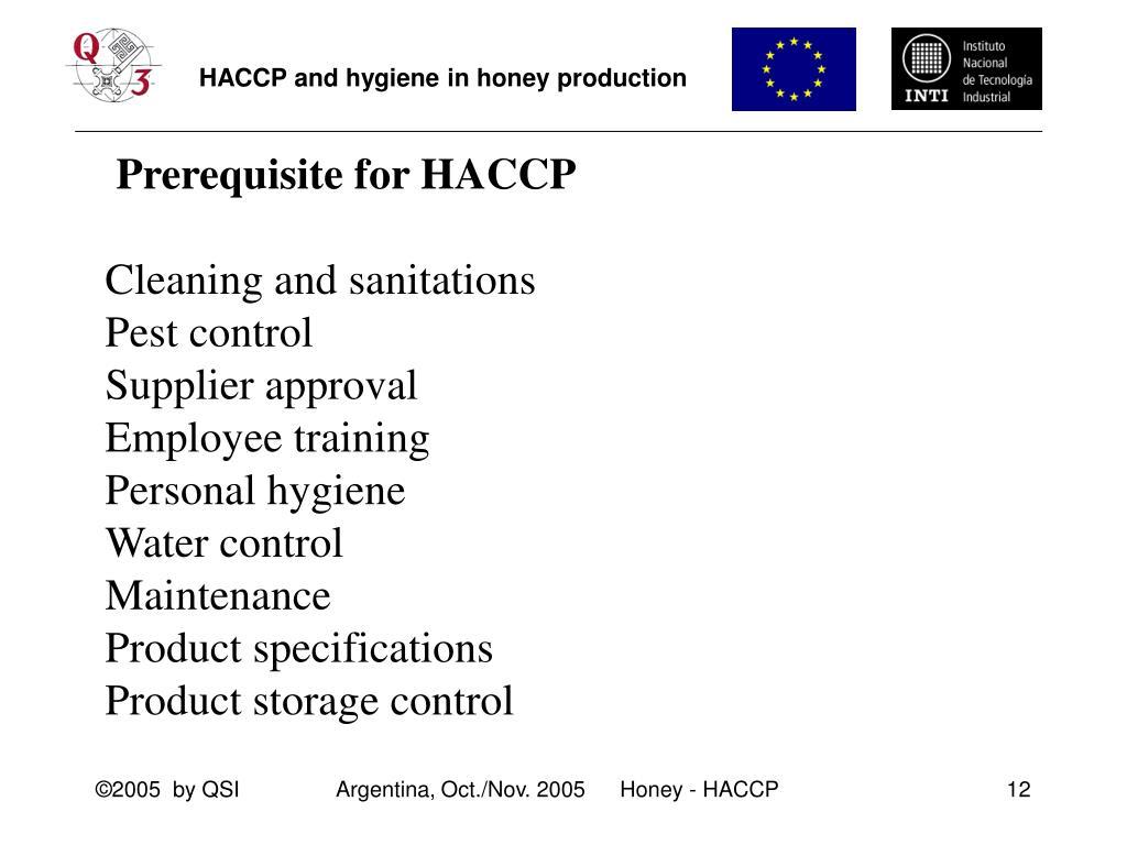 Prerequisite for HACCP