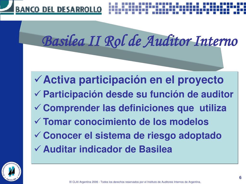 Basilea II Rol de Auditor Interno