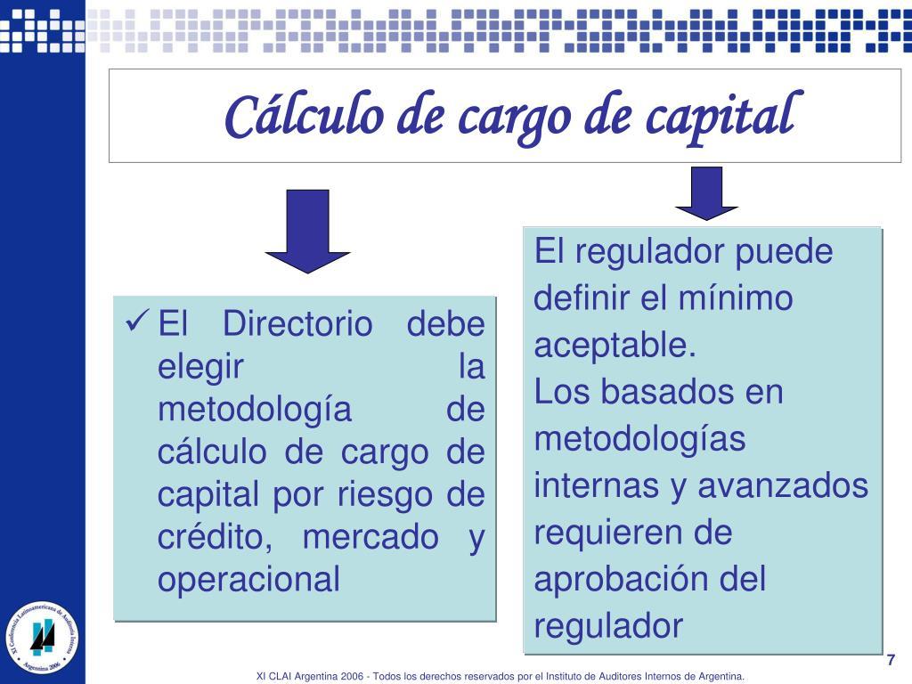 El Directorio debe elegir la metodología de cálculo de cargo de capital por riesgo de crédito, mercado y operacional