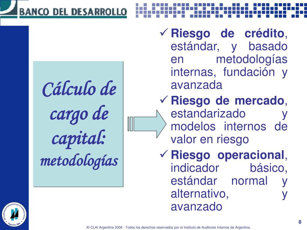 Cálculo de cargo de capital:
