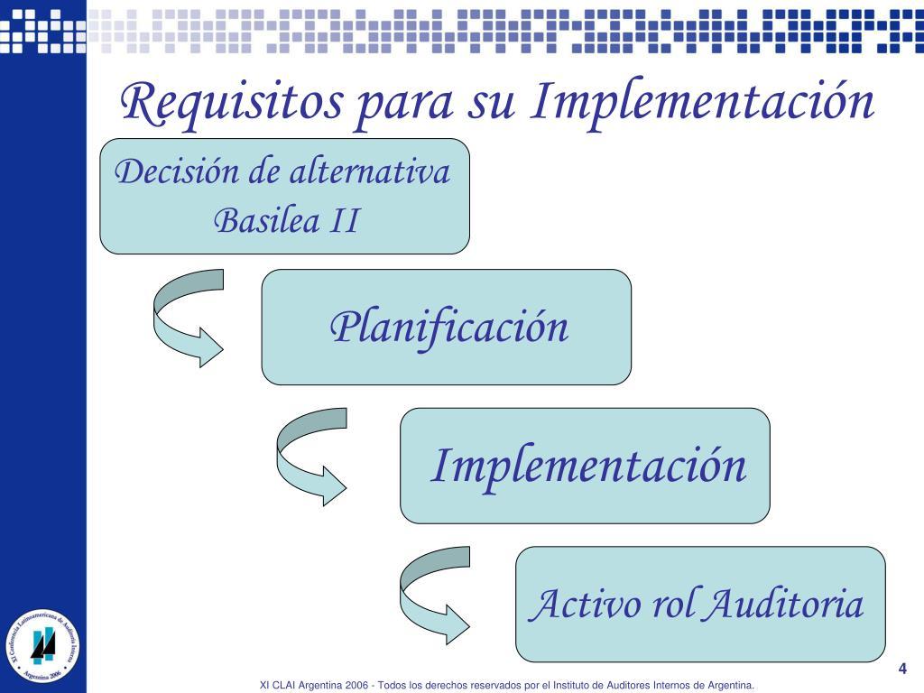 Requisitos para su Implementación
