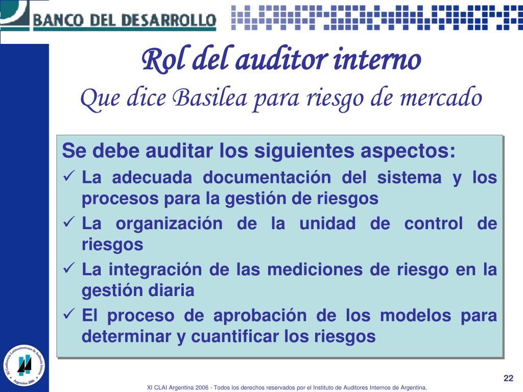 Rol del auditor interno