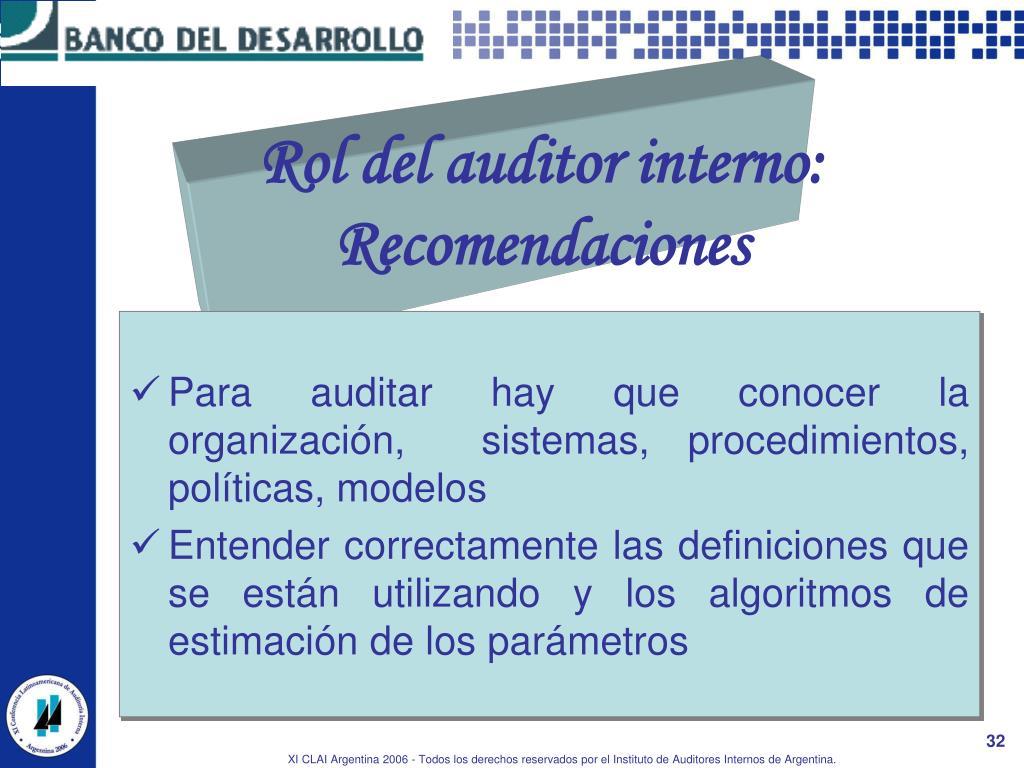 Rol del auditor interno: