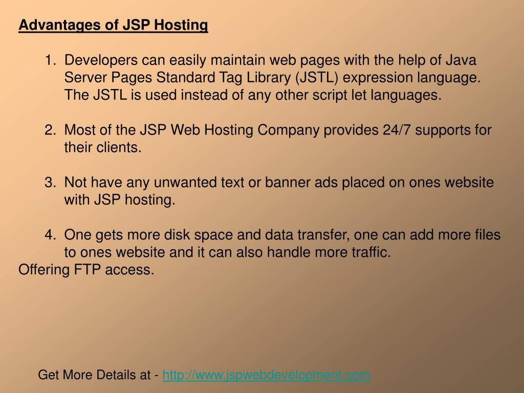 Advantages of JSP Hosting