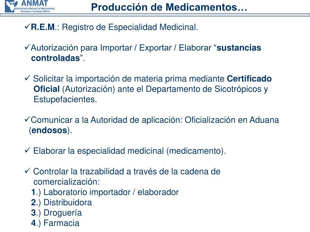 Producción de Medicamentos…