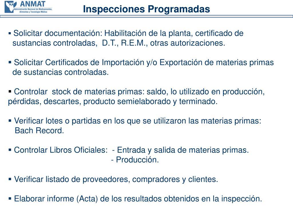 Inspecciones Programadas