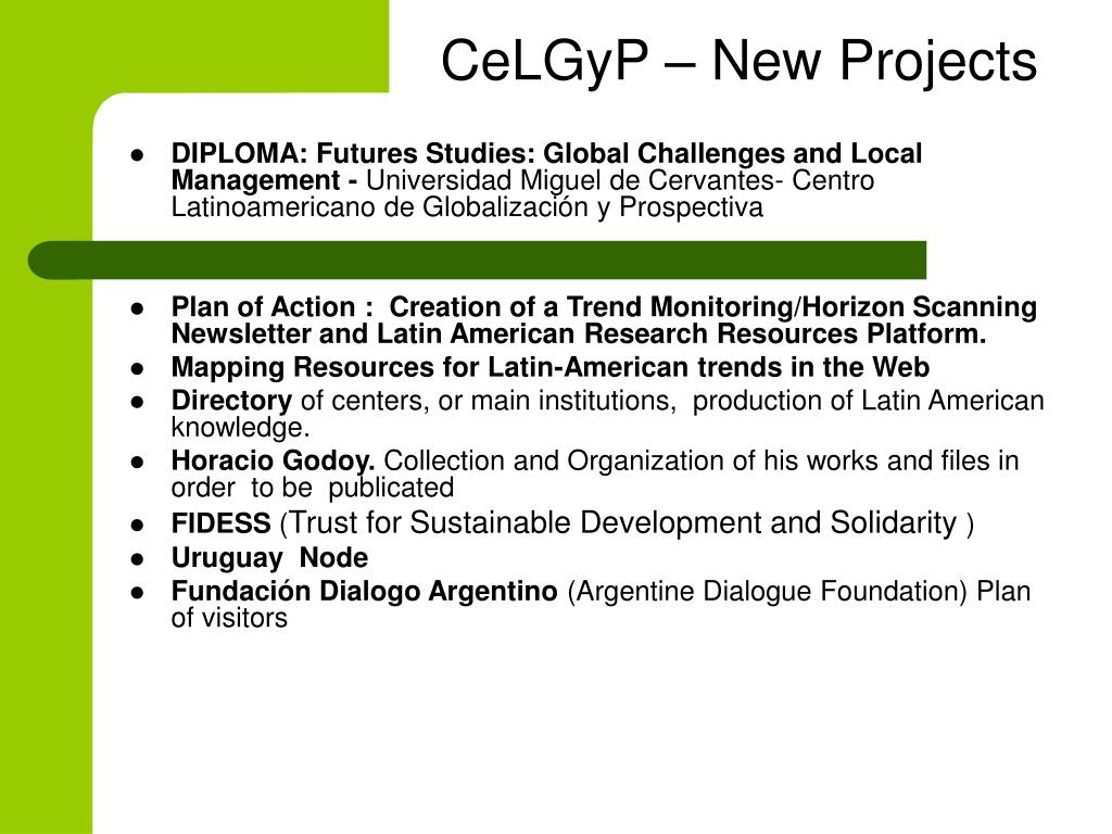 CeLGyP – New Projects