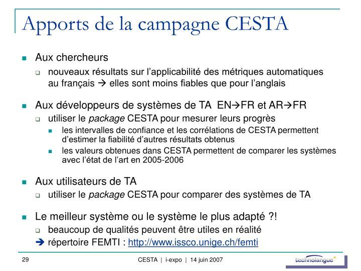 Apports de la campagne CESTA