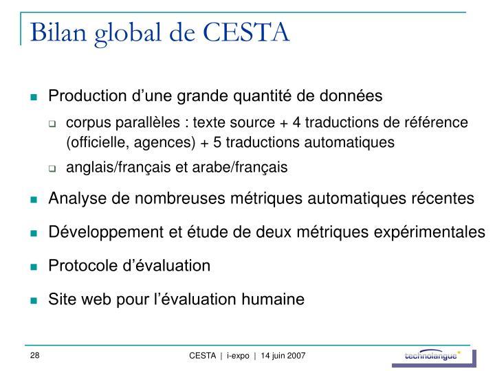 Bilan global de CESTA