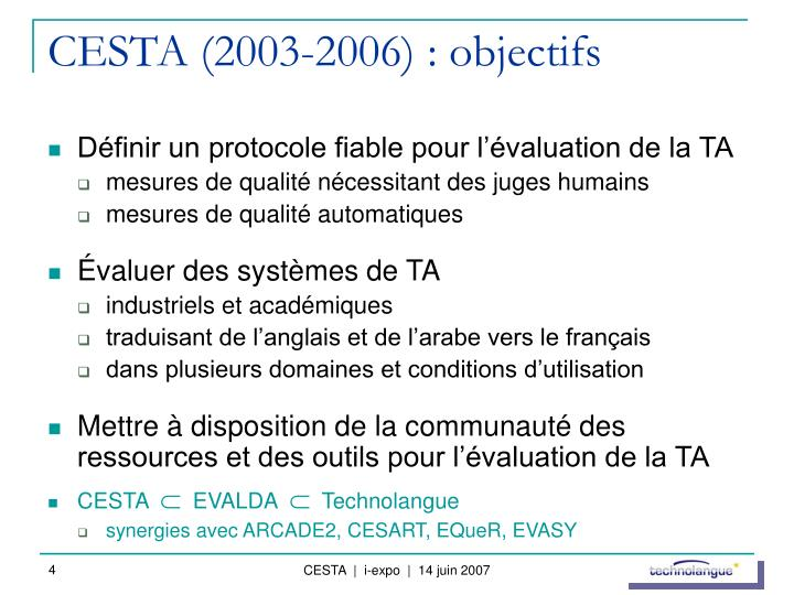 CESTA (2003-2006) : objectifs