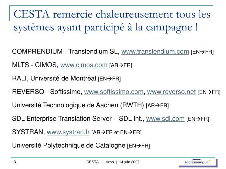 CESTA remercie chaleureusement tous les systèmes ayant participé à la campagne !