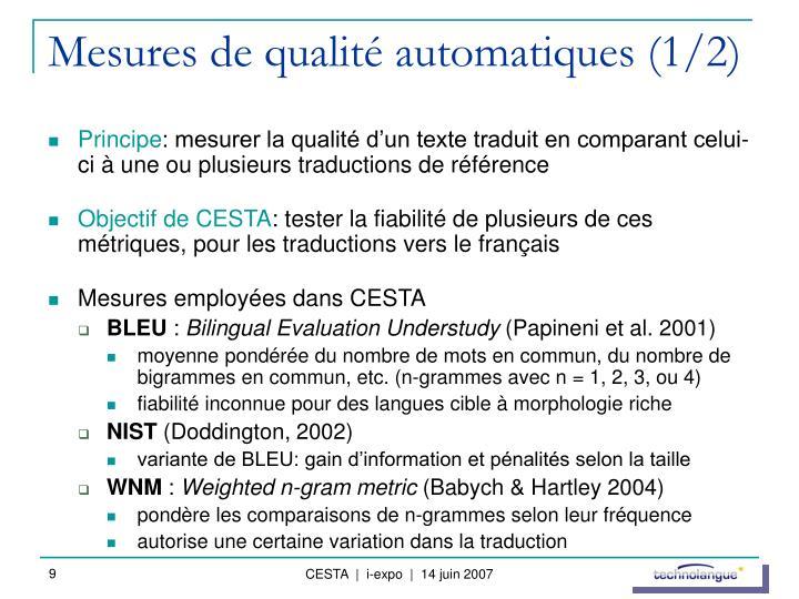 Mesures de qualité automatiques (1/2)