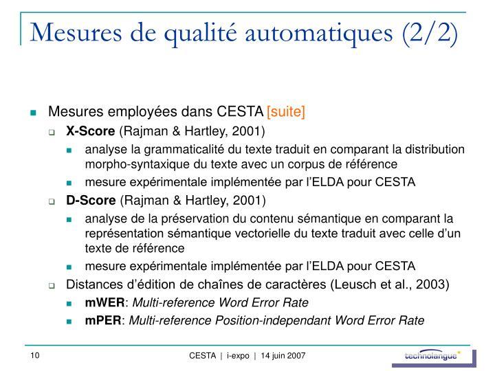 Mesures de qualité automatiques (2/2)