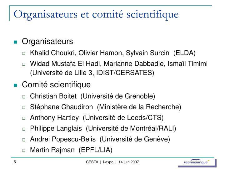 Organisateurs et comité scientifique
