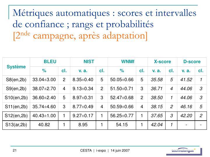 Métriques automatiques : scores et intervalles de confiance ; rangs et probabilités