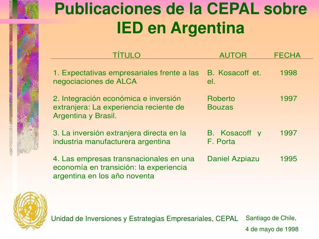 Publicaciones de la CEPAL sobre IED en Argentina