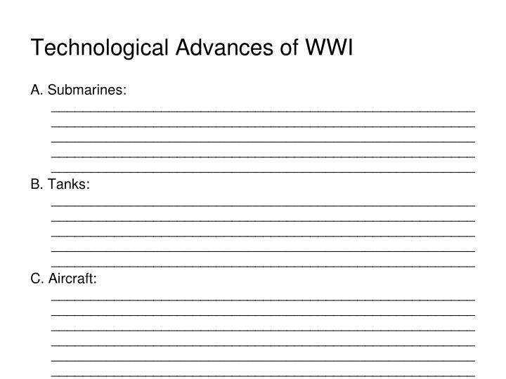 Technological Advances of WWI