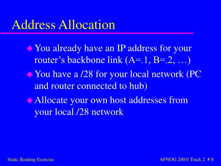 You already have an IP address for your router's backbone link (A=.1, B=.2, …)