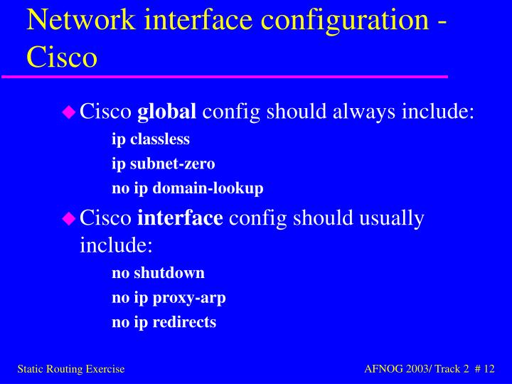 Network interface configuration - Cisco