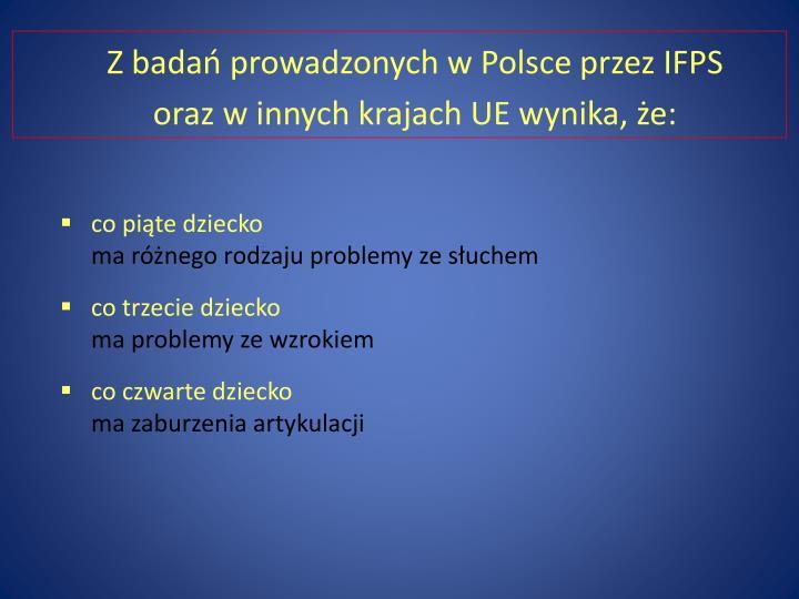 Z badań prowadzonych w Polsce przez IFPS