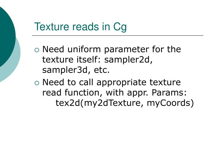 Texture reads in Cg