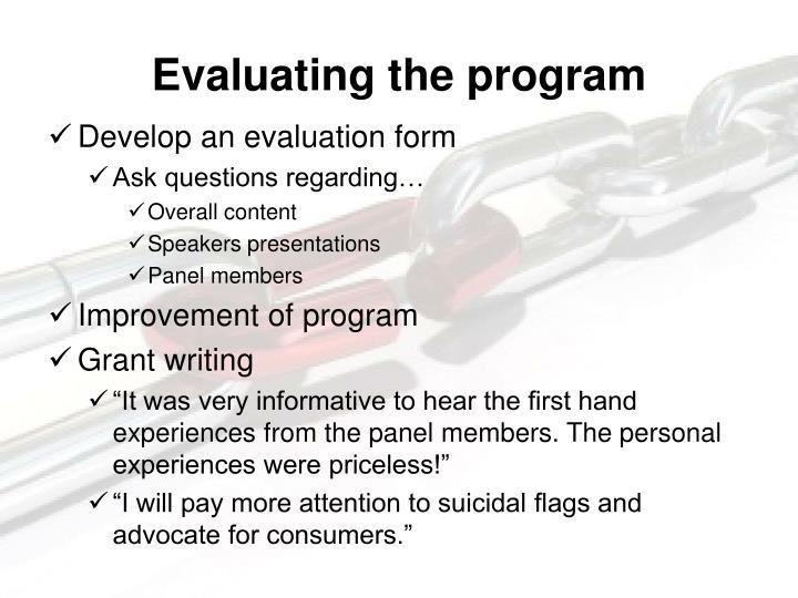 Evaluating the program