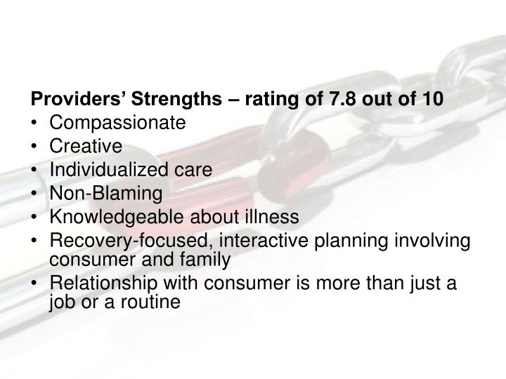 Providers' Strengths – rating of 7.8 out of 10