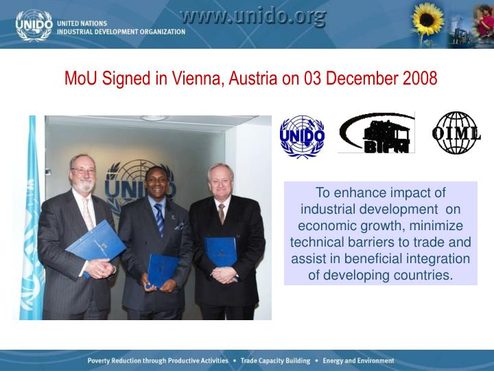MoU Signed in Vienna, Austria on 03 December 2008