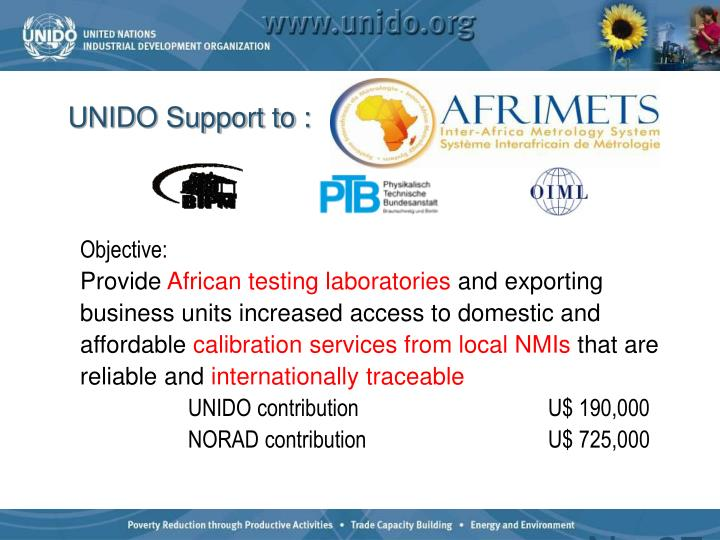 UNIDO Support to :