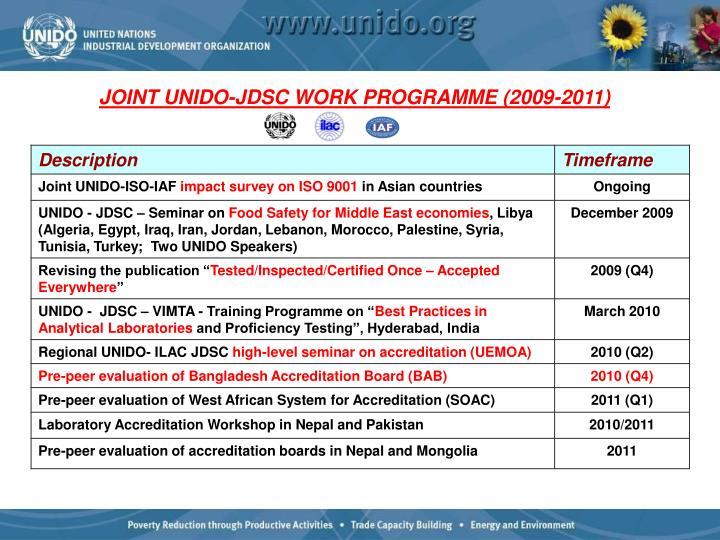 JOINT UNIDO-JDSC WORK PROGRAMME (2009-2011)